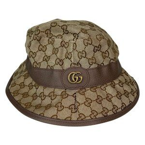 GUCCI BEIGE & BROWN GG CANVAS FEDORA HAT (508027)